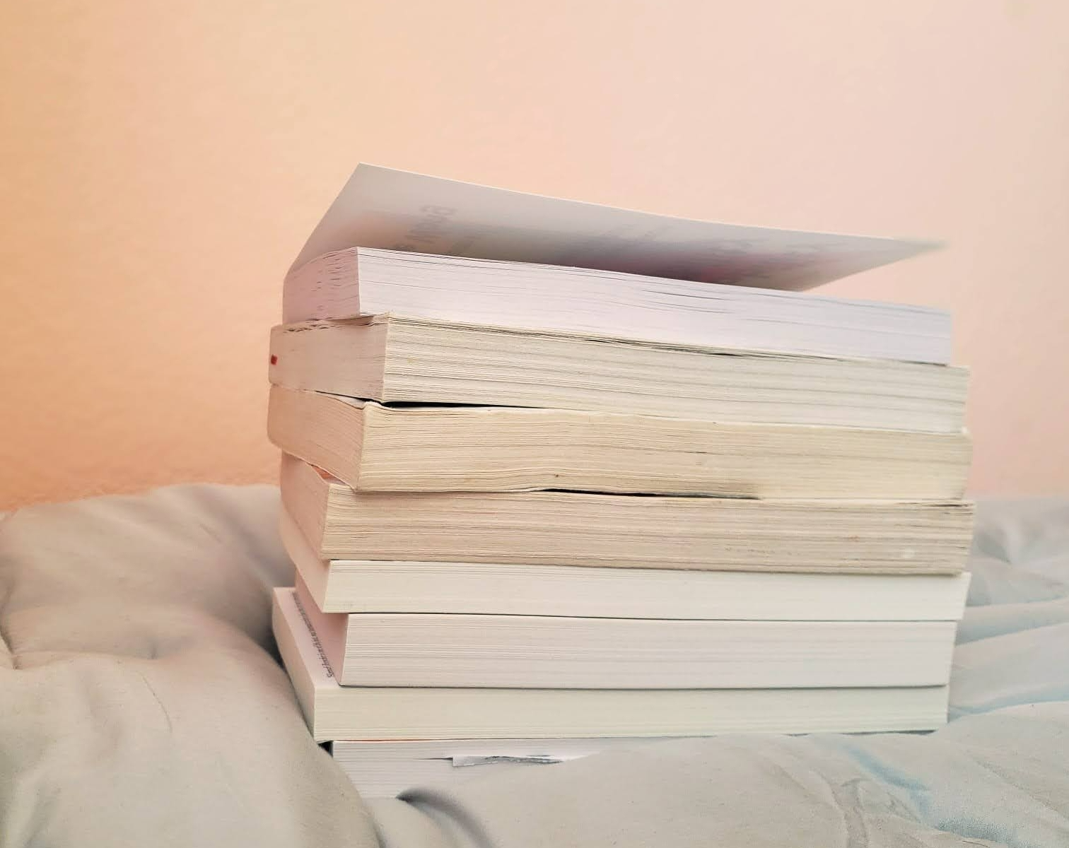 stack of about eight books
